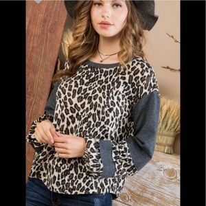 Charcoal leopard contrast top (COMING )